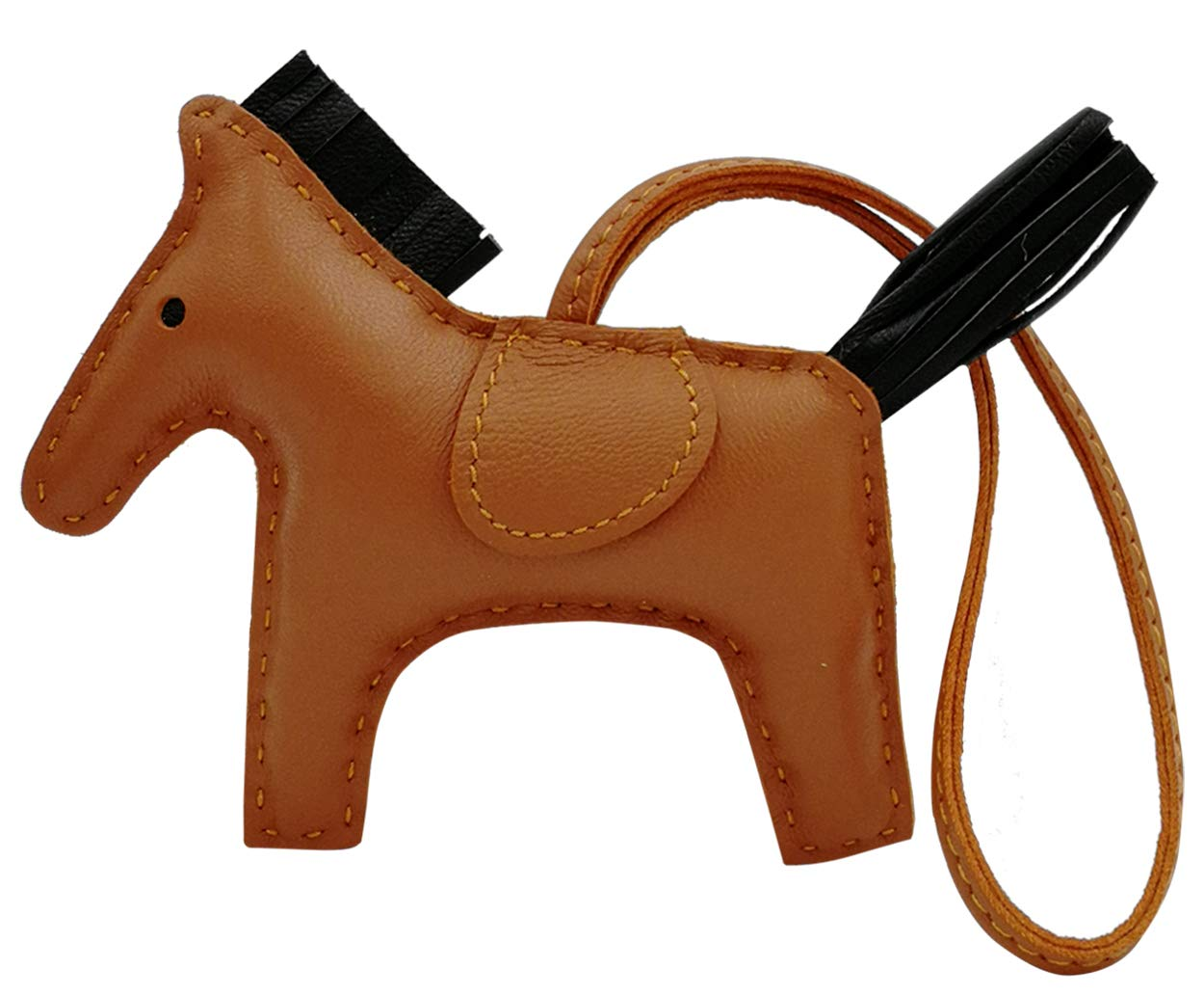 Bag Accessories for Women,Handmade Sheepskin Leather Horse, Bag Charm Pony Purse Car Accessories Gift (Large, Light Brown/Black) by Bang Shong