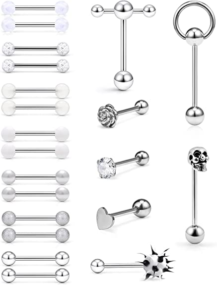 JFORYOU 14G 12Pcs Stainless Steel Tongue Rings Barbells Heart Shape Rose Shape Tongue Piercing Nipple Rings Body Jewelry 8 Style