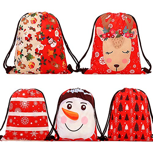 Christmas Drawstring Gift Bags, Uiuix Santa Backpack Goody Treat Bags 5 Pack for Girls Kids Children Party Favors Gifts (Christmas Red)