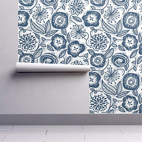 Peel-and-Stick Removable Wallpaper - Botanical Block Print Floral Decor Navy Blue Floral Bohemian Mod Vines by Run Quiltgirl Run - 24in x 108in Woven Textured Peel-and-Stick Removable Wallpaper Roll