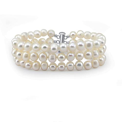 3-Row White A Grade 7.5-8.0mm Freshwater Cultured Pearl Bracelet,7.5