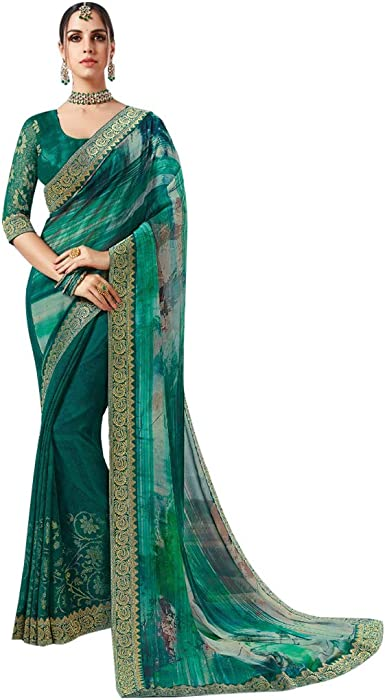 ETHNIC EMPORIUM - Sari para Mujer (Estampado Georgette, Estilo Casual, con Blusa, Moda India, 8110, 6,25 m, como se Muestra): Amazon.es: Ropa y accesorios
