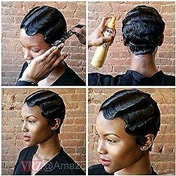VRZ Short Wavy Curly Black Human Hair Wigs Color 1B(SJK)