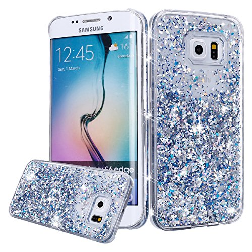 Galaxy S6 Case, Galaxy S6 Bling Glitter Case,PHEZEN 3D Creative Design Shiny Quicksand Flowing Bling Glitter Sparkle Heart Clear Hard Case for Samsung Galaxy S6 - Silver Diamond (Hearts Silver Sparkle)