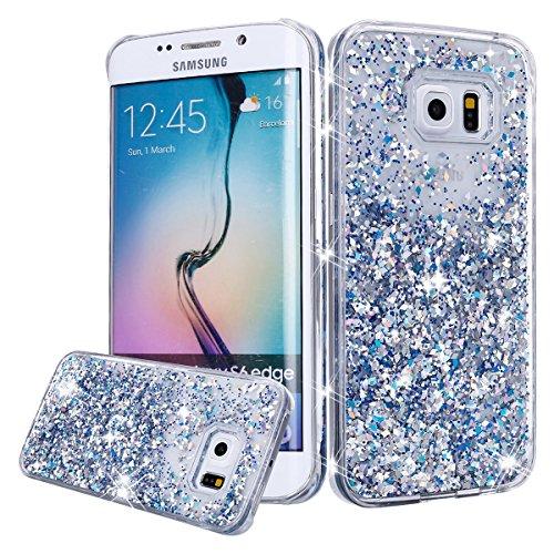 Galaxy S6 Case, Galaxy S6 Bling Glitter Case,PHEZEN 3D Creative Design Shiny Quicksand Flowing Bling Glitter Sparkle Heart Clear Hard Case for Samsung Galaxy S6 - Silver Diamond (Sparkle Hearts Silver)