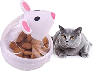 Cat Food Dispenser Toy,Puss Slow Feeder Cat Food Ball,Automatic Spinning Cat Mouse Toy Pet Food Ball Cat Feeder for Cats and Kitten
