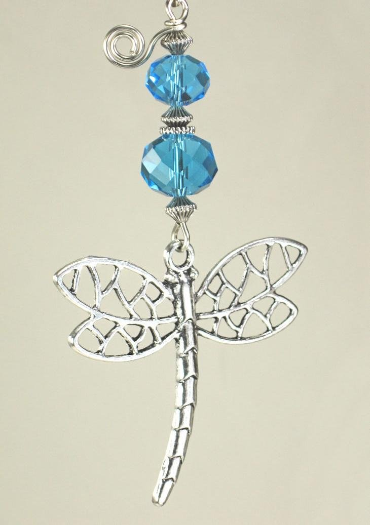 Turquoise Faceted Glass with Large Dramatic & Openwork Dragonfly Light Or Ceiling Fan Pull Chain Trace Ellements