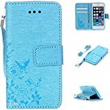 iPhone SE Case,iPhone 5S Case,iPhone 5 Case,Alkax Premium PU Leather Wallet[Kickstand]Magnet Flip Cover with Credit Card ID Card Slots[Wrist Strap]for Apple iPhone SE 5S+One Free Stylus Pen(Blue)