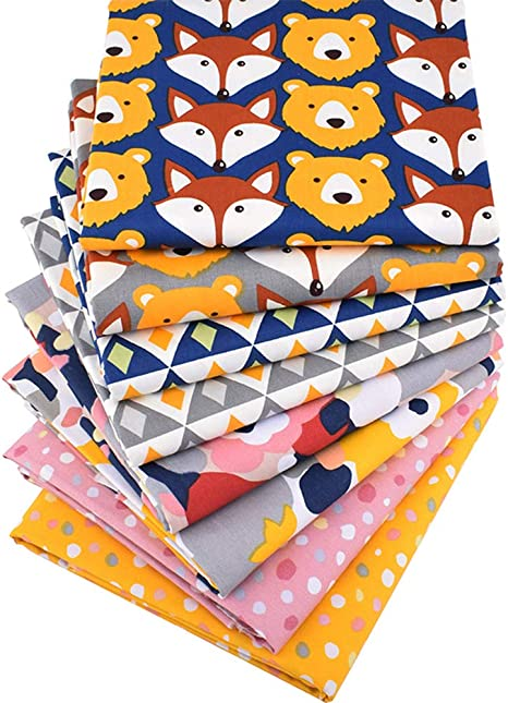 Amazon Com Hanjunzhao Bear Fox Quilting Fabric Cartoon Woodland Fat Quarters Fabric Bundles For Sewing Crafting 18 X 22 Inches