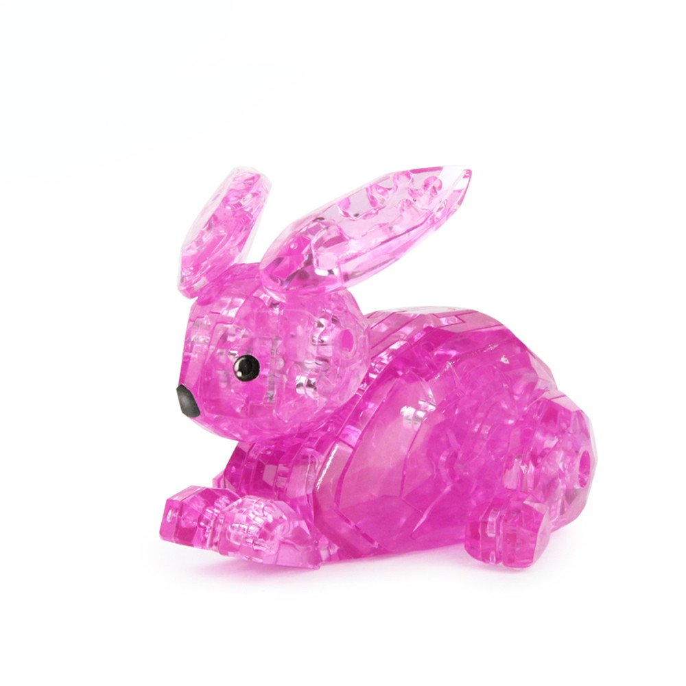 Hisoul 3D Rabbit Crystal Puzzle Toys Three-Dimensional Sense and Realism DIY Gadget Blocks Building Toy Educational Puzzle Toys for Kids 14 Years Old or Above (hot Pink)
