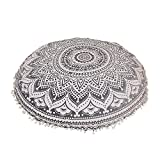 Shubhlaxmifashion Large 32'' Gary Ombre Round Pillow Cover, Decorative Mandala Pillow Sham, Indian Bohemian Ottoman Poufs, Pom Pom Pillow Cases, Outdoor Cushion Cover,
