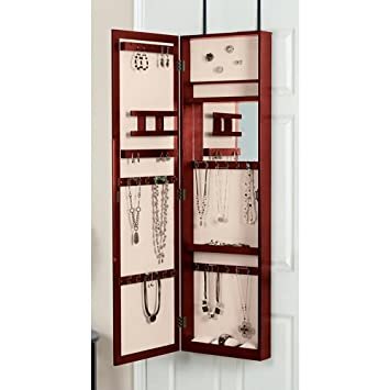 Mirrored Jewelry Armoire, Over The Door Mirror Jewelry Armoire   Tall Jewelry  Armoire