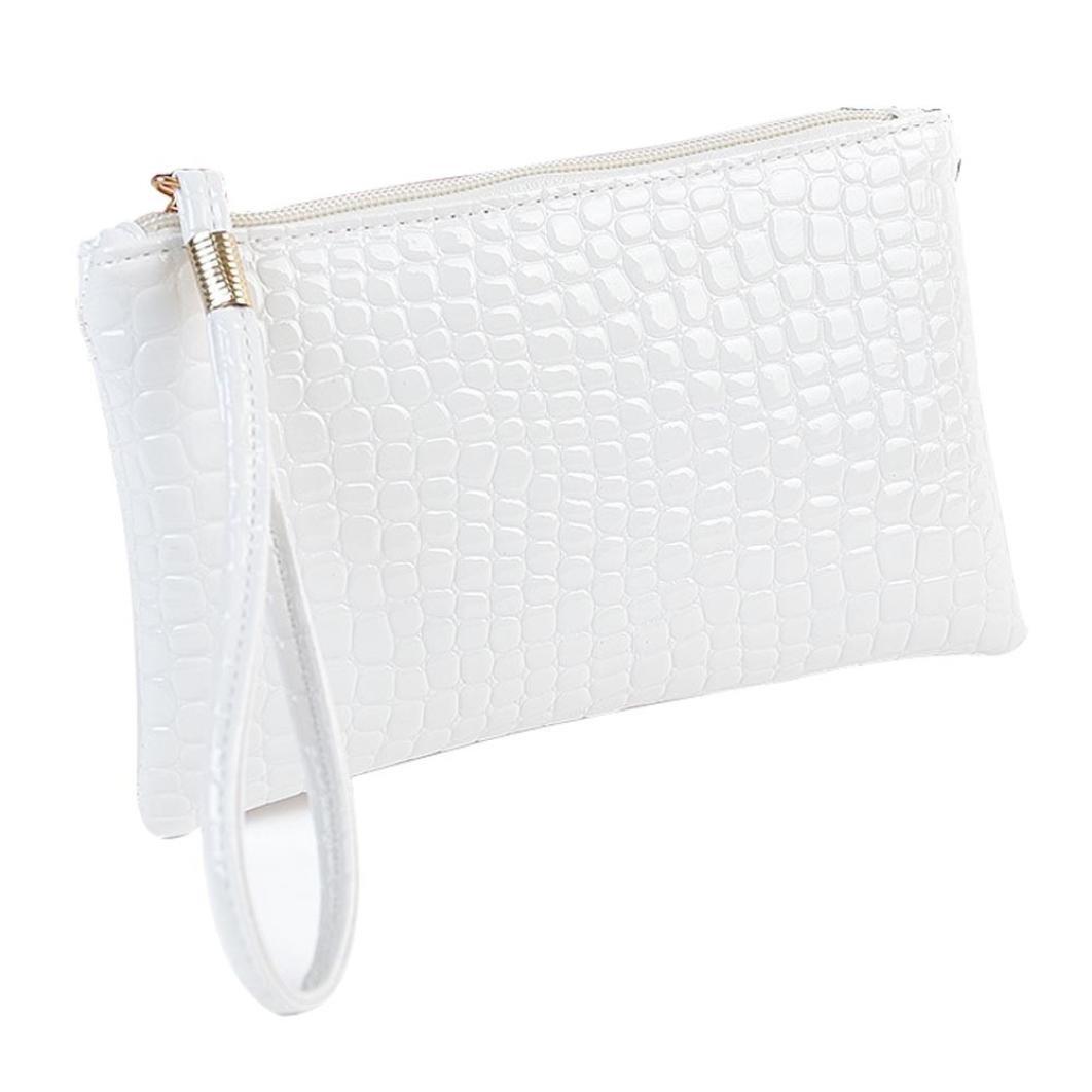 Evening Clutch Bag,AfterSo Women Zipper Crocodile PU Leather Wristlets Bag Handbag (19cm/7.48''L×11cm/4.33''H×1.5cm/0.59''W, White - Crocodile PU Leather Wristlets Bag)