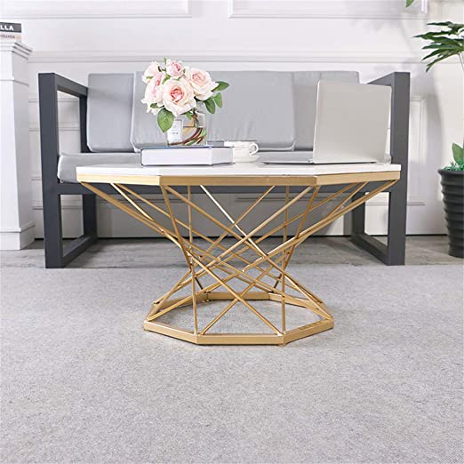 KUKU-mesas de centro Mesa de Centro Octagonal de mármol Blanco ...