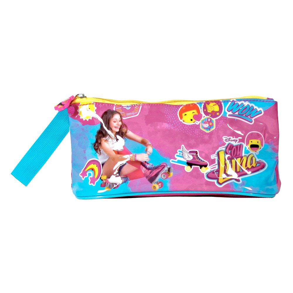 PERLETTI Astuccio bambina Disney Soy Luna - Pratico portatutto con cerniera per la scuola e da viaggio - Fucsia 10x21x8 cm 13214