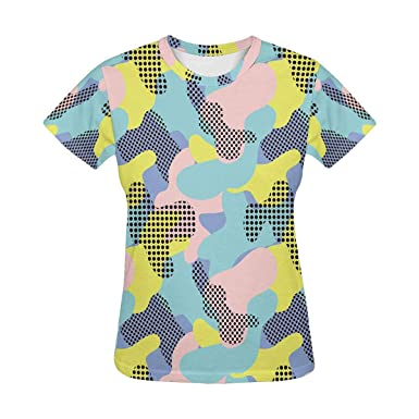 d9445a00952f Amazon.com: InterestPrint Abstract Camouflage Women's Teen Girls T-Shirt  Crew Neck Tops (XS-2XL): Clothing