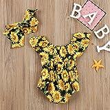 Newborn Baby Girls Sunflower Romper Off Shoulder
