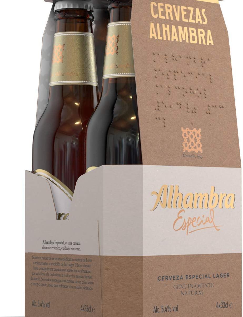 Alhambra Especial Cerveza Dorada Lager, 5.4% Volumen de Alcohol, Botella - Pack de 4 x 33cl: Amazon.es: Alimentación y bebidas