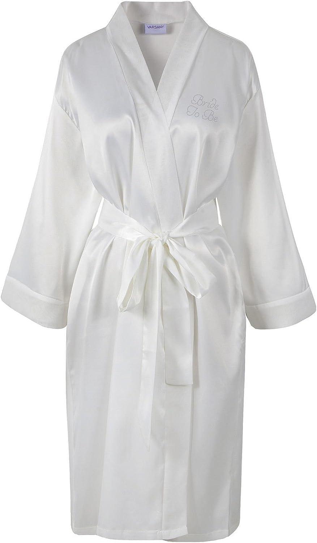 personalizzabile con scritta in strass vestaglia per matrimonio e viaggio di nozze Varsany in satin
