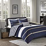 Comfort Spaces Verone Comforter Set - 3 Piece - White, Navy, Khaki - Stripes - Perfect For College Dormitory, Guest Room - Twin/Twin XL Size, includes 1 Comforter, 1 Sham, 1 Decorative Pillow
