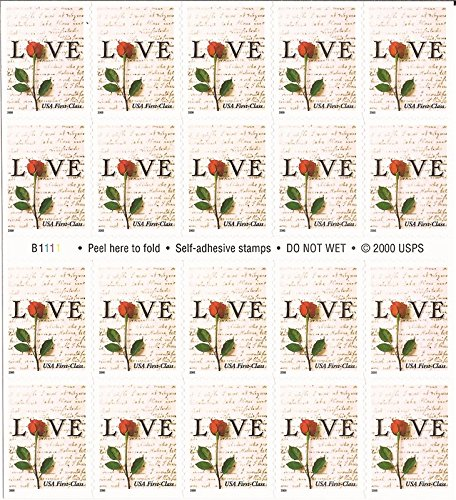 Red Rose and Love Letters Pane of Twenty 34 Cent Postage Stamps Great For Weddings Scott 3496 By USPS   ()