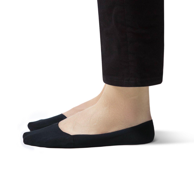 SHEEC SoleHugger InvisiSoft - Women's No-Show Non-Slip Cozy Fleece Boat Sock - Black Large 4 Pairs by Sheec