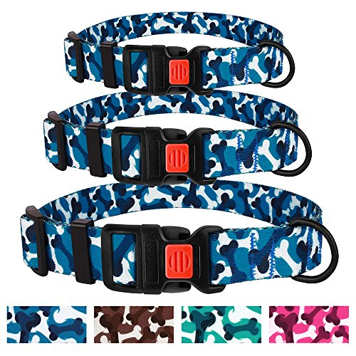 - CollarDirect Bone Dog Collar Nylon Camo Design Adjustable Camouflage Pet Collars Small Medium Large Dogs (Neck Fit 14