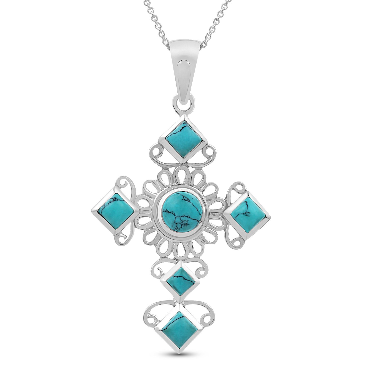 Cross Turquoise Pendant - .925 Sterling Silver Jewelry