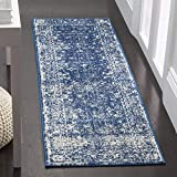 Safavieh Evoke Collection EVK270A Distressed Oriental Navy and Ivory Runner (2'2' x 15')