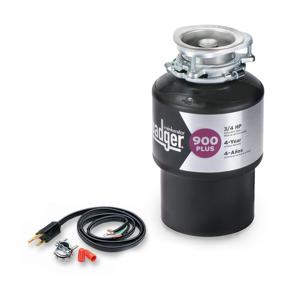 InSinkErator Badger 900 Plus 3/4 HP Continuous Feed Garbage Disposal with Power Cord Kit Badger 900 Plus W/C