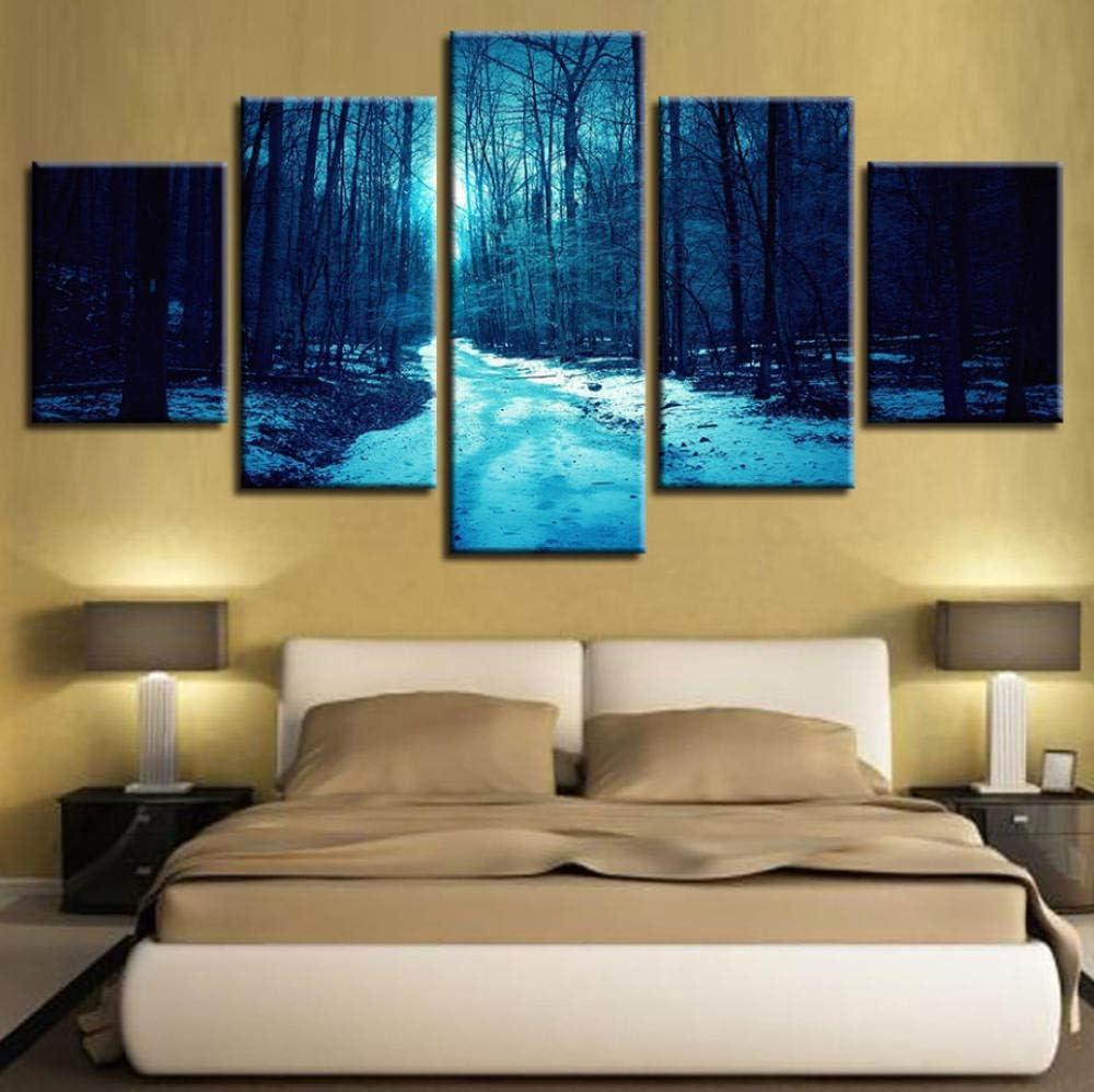 PrintWUHUA Cuadros Lienzos Decorativos Bosque De Invierno, Camino Nevado Cuadros Abstractos Modernos 5 Partes