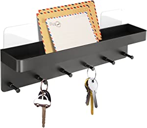 XIGOO Key Hooks Mail Holder for Wall Decorative - 6 Hooks Adhesive Wall Mounted Organizer for Hallway Kitchen Office Farmhouse Decor, Stainless Steel Key Wall Shelf for Home (Black)