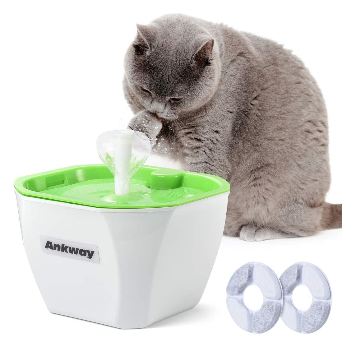 Ankway Bebedero Gatos, Fuente para Gatos Automático Bebedero para Mascotas 1.6L con filtros de Carbón y Detector de Nivel de Agua, Dispensador de ...