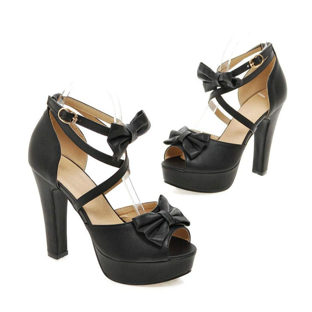 Black JOYBI Women High Heels Sandals Cross Strap Buckle Slip On Ladies Sandal Bows Party Wedding Platform shoes