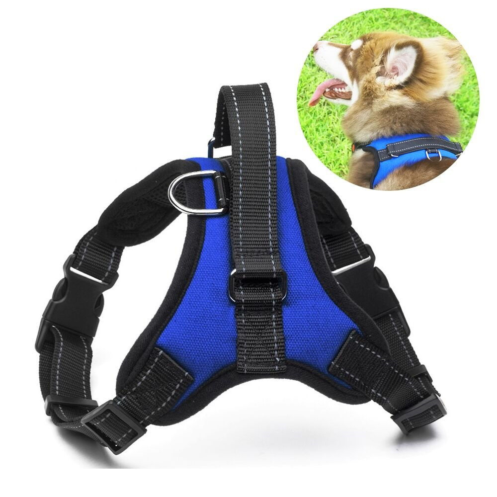 No Pull Dog Harness Vest - Menyda Adjustable Reflective Dog Harness With Handle(S-Blue)