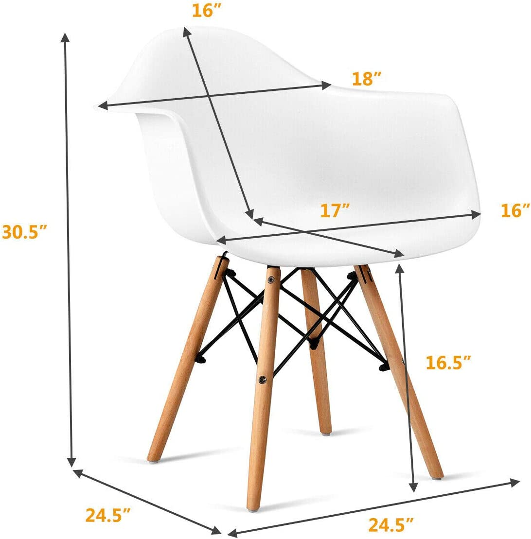 Waiting Room Bedroom Easily Assemble Mid Century DSW Molded Plastic Shell Arm Chair for Living Room Kitchen Giantex Set of 2 Modern Dining Chairs w//Natural Wood Legs White Dining Room
