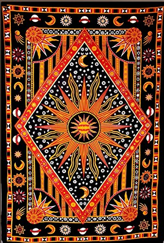 Shubhlaxmifashion Celestial Sun Moon Stars Planet Tapestry, Indian Hippie Twin Wall Hanging Tapestry, Bohemian Bedspread, Mandala Cotton Dorm Decor Beach blanket