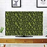 iPrint LCD TV dust Cover,Sage,Patterned Green Leaves Nature Inspired Composition Fresh Trees Woodland Decorative,Apple Green Dark Green,3D Print Design Compatible 60'' TV