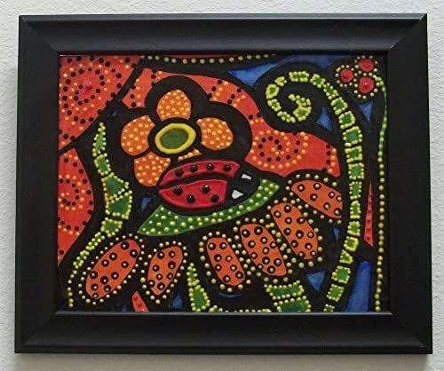 Framed Colorful Abstract Ladybug Painting On Canvas Bright Colors Texture Hand Painted Original Art Michelle Astuto Collins …