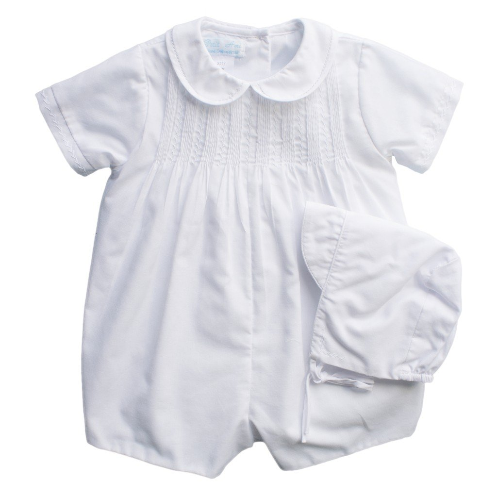 Petit Ami Christening Romper with Pintucks & Feather Stitching and Matching Hat 5137
