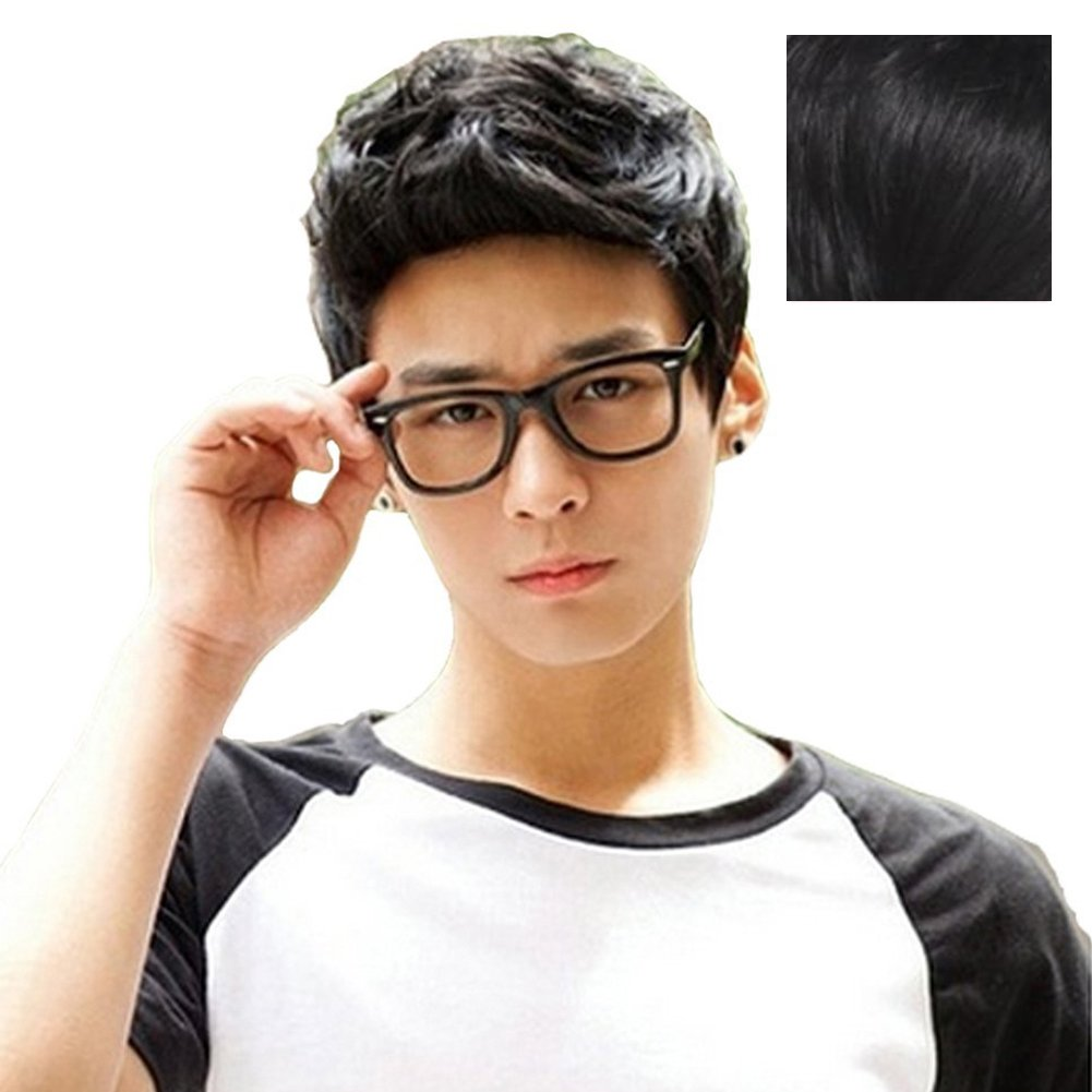 RightOn New Fashion Cool Man Boys Short Wig with Wig Cap (Black)