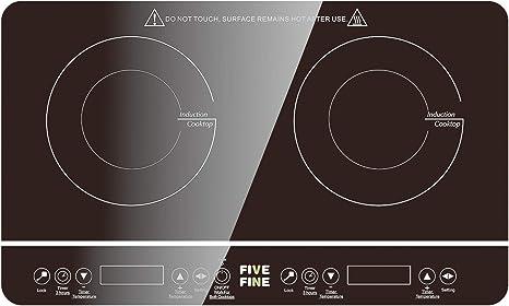 Placa Inducción de 2 Placas, Control Táctil de Cocina de Inducción, Superficie de Cristal, Control Táctil, 10 niveles de Potencia, 3-hourTemporizador, ...
