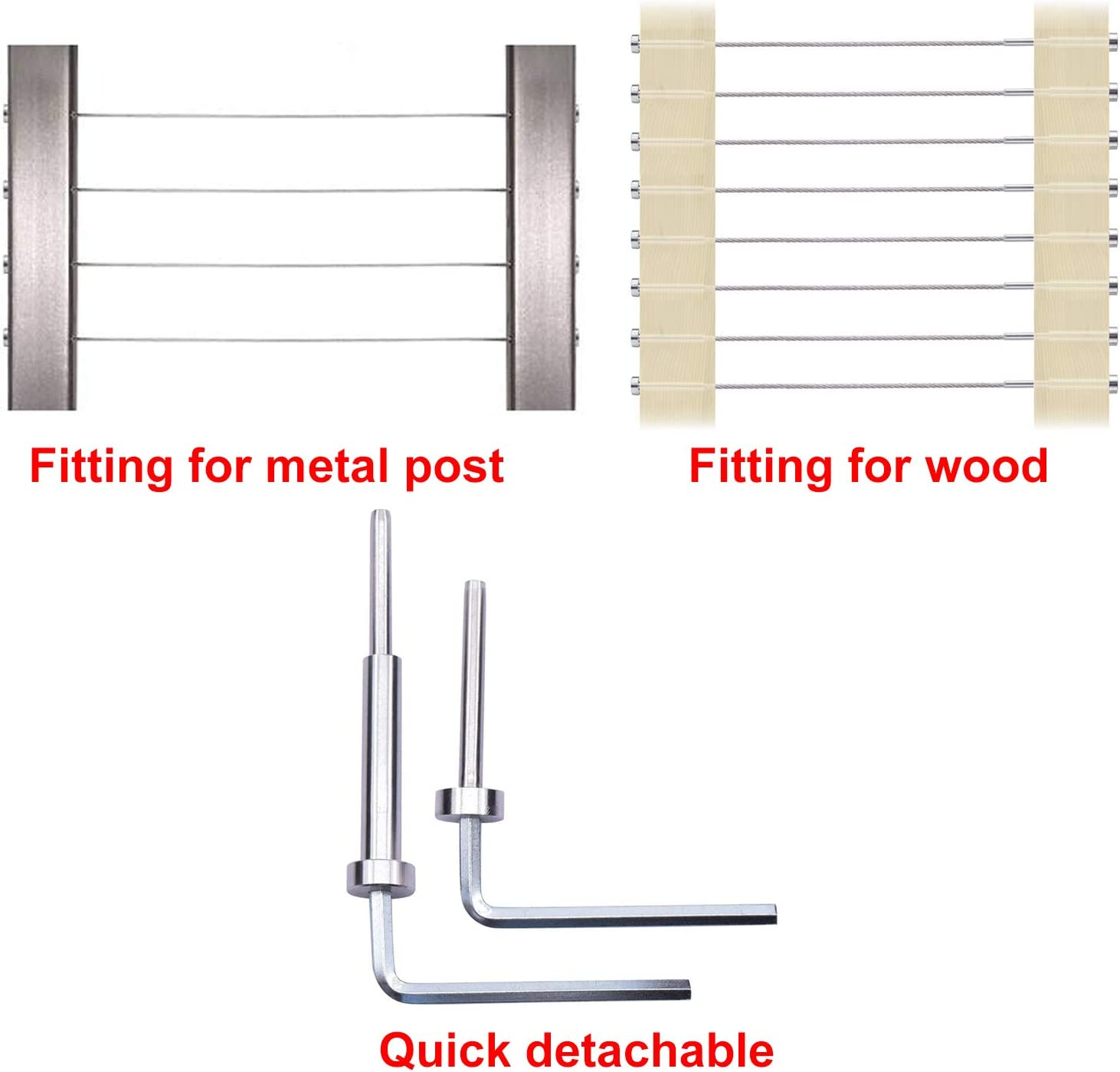 CKE 20 Pairs Cable Railing kit Invisible Turnbuckle 3//16 Swage Threaded Stud Hex Head Fitting Receiver Terminal for Wood /& Metal Post