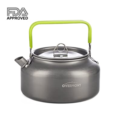 Overmont Camping Kettle Camp Tea Kettle Camping Coffee Pot Aluminum Outdoor Hiking Kettle FDA Approved Camping Gear Portable Teapot Compact and Lightweight