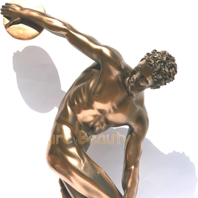 Grifon Discus Thrower Decorative Statue Sculpture Figure Bronze Finish 12.20 inch 31cm