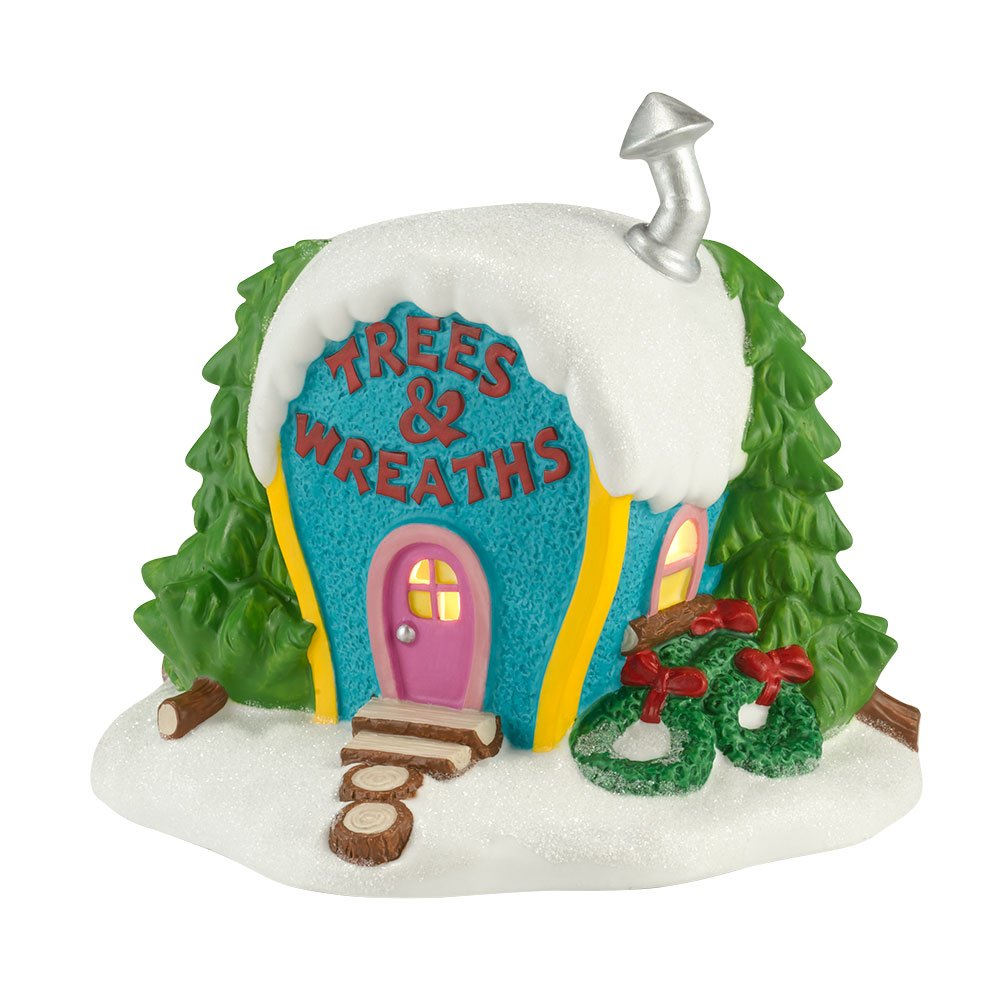 Department 56 Grinch Villages Ornament-Ville Trees and Wreaths Lit House, 5.71 inch