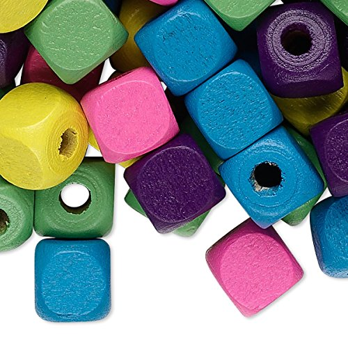Bead mix wood mixed colors 10x10mm cube H20-8029NB