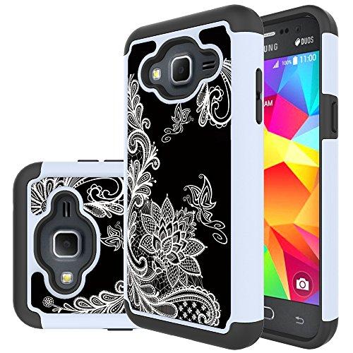 Galaxy J3V Case, J3 Case, J36V Case, Skmy Shockproof Impact Hybrid Dual Layer Defender Protective Cover rugged Armor Case for Samsung Galaxy Sol/Sky, Amp Prime, Express Prime (Flower)