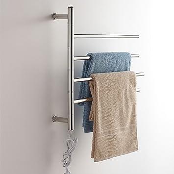 Rotable de acero inoxidable eléctrico montado en la pared toalleros calentados calentador de toallas: Amazon.es: Hogar