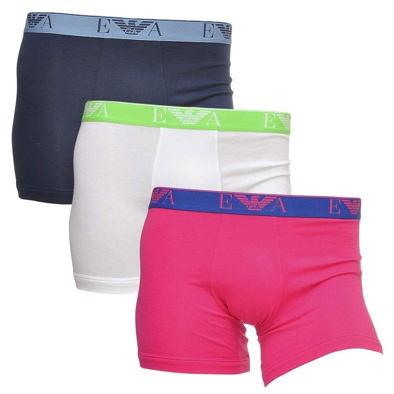 Emporio Armani Fashion Multipack Stretch Cotton 3-Pack Boxer, Blue/Pink/White